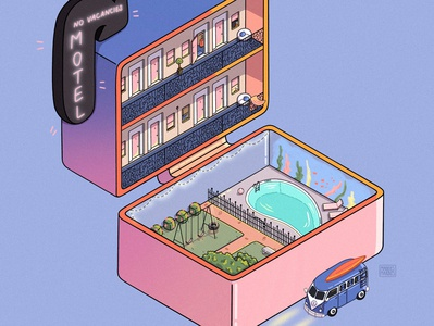 Motel Polly Pocket Art ipad art procreate illustration illustrator cartoon isometric art isometric digital artwork digital art digital illustration