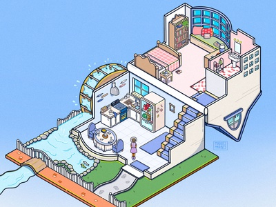 Grandma's House Polly Pocket Art ipadproart procreate illustration illustrator cartoon isometric art isometric digital artwork digital art digital illustration