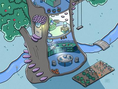Treehouse Isometric Art ipad art procreate illustration illustrator cartoon isometric art isometric digital artwork digitalart digital illustration