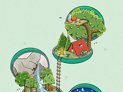 Camping Isometric Polly Pockets ipad art procreate illustration illustrator cartoon isometric art isometric digital artwork digital art digital illustration