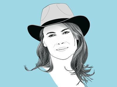 Jeannette adobe illustrator hair aquamarine vector portrait illustration
