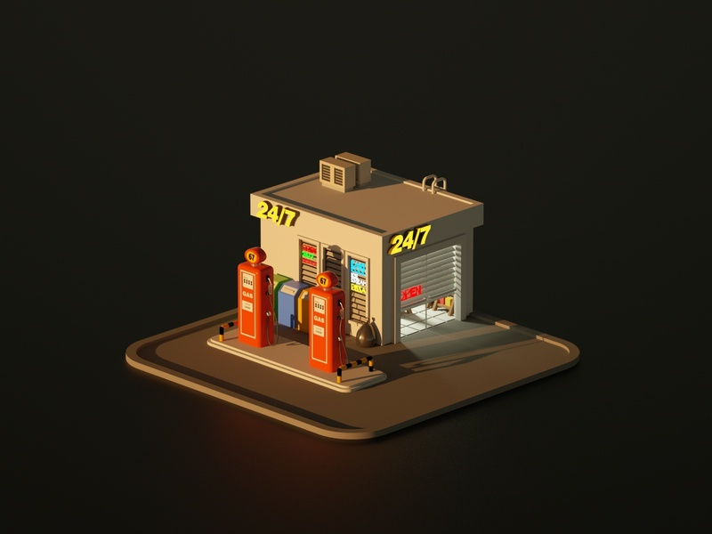 Gas Station gas station illustration low poly art low poly render cinema 4d c4d 3d artist 3d art 3d design