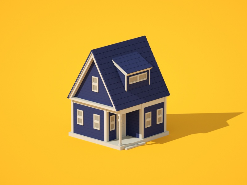 Yellow Land house low poly art low poly render cinema 4d c4d 3d artist 3d art 3d design