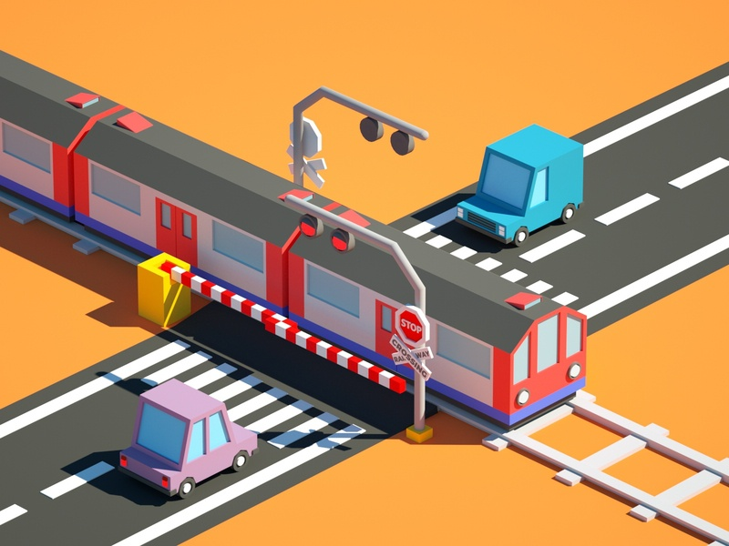 Railway Crossing illustration low poly art low poly render cinema 4d c4d 3d artist 3d 3d art design