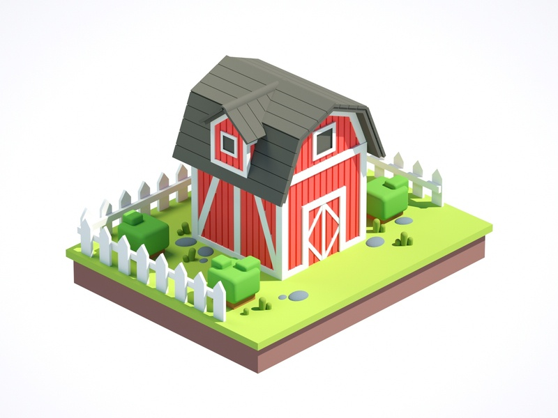 Barn illustration low poly art low poly render cinema 4d c4d 3d artist 3d art 3d design