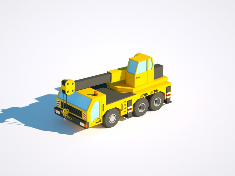 Crane Truck car illustration low poly render cinema 4d c4d 3d artist 3d 3d art design