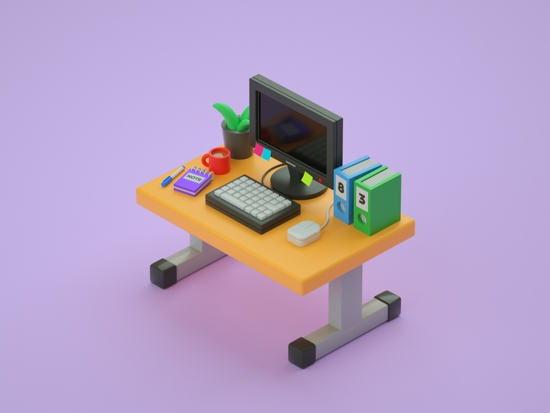 Desktop illustration low poly art low poly render cinema 4d c4d 3d artist 3d art 3d design