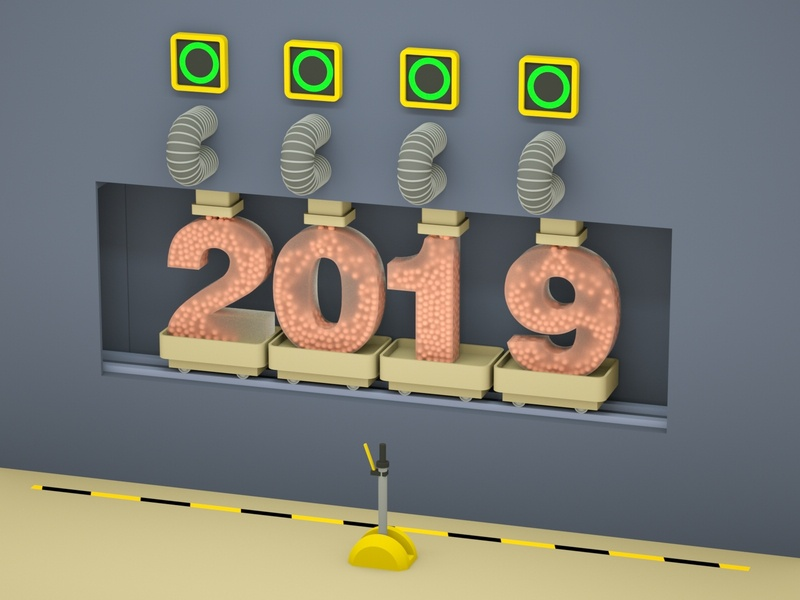 2019 New Year 2019 new year 2019 new year animation illustration low poly art low poly design render cinema 4d c4d 3d artist 3d art 3d