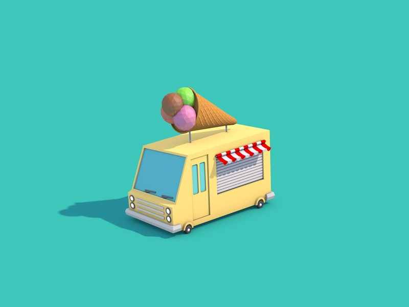 Ice Cream Truck truck ice cream animation car illustration low poly art low poly design render cinema 4d c4d 3d artist 3d art 3d