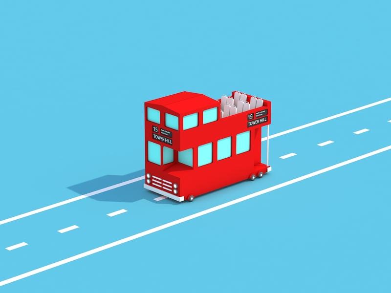 London Bus transportation bus london animation illustration low poly art low poly design render cinema 4d c4d 3d artist 3d art 3d