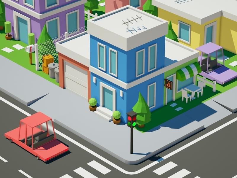 Low Poly House octane parking house car illustration low poly art low poly design render cinema 4d c4d 3d artist 3d art 3d