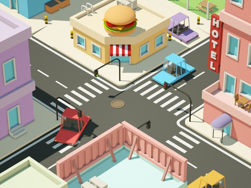 Crossroad crossroads hotel street hamburger house car illustration low poly art low poly design render cinema 4d c4d 3d artist 3d art 3d