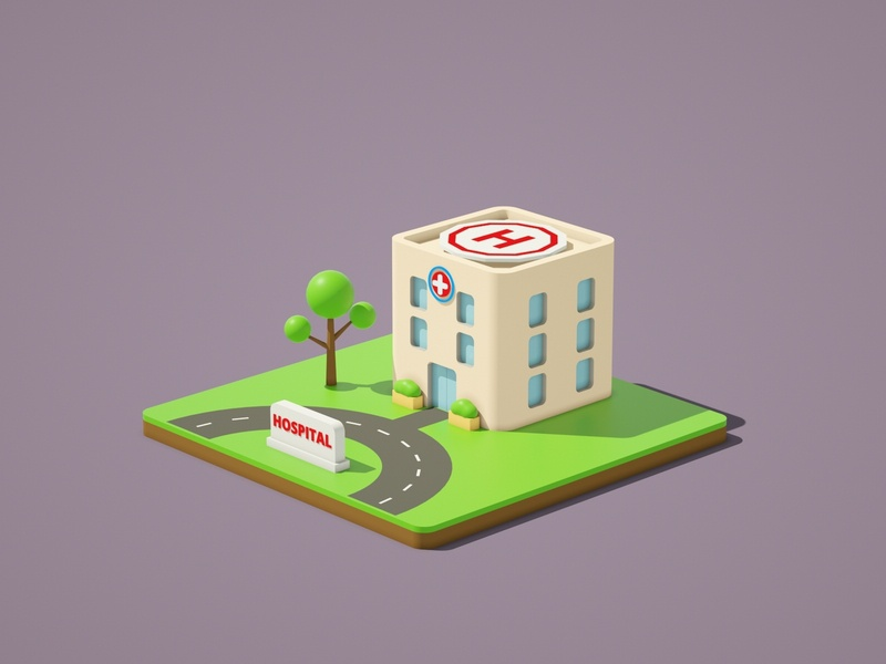 Lowpoly Hospital ambulance hospital vector illustration low poly art low poly design render cinema 4d c4d 3d artist 3d art 3d