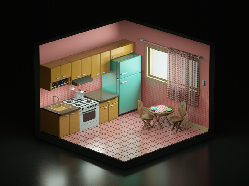 Cozy Kitchen behance isometric design isometric art isometric dinner kitchen house illustration low poly art low poly design render cinema 4d c4d 3d artist 3d art 3d