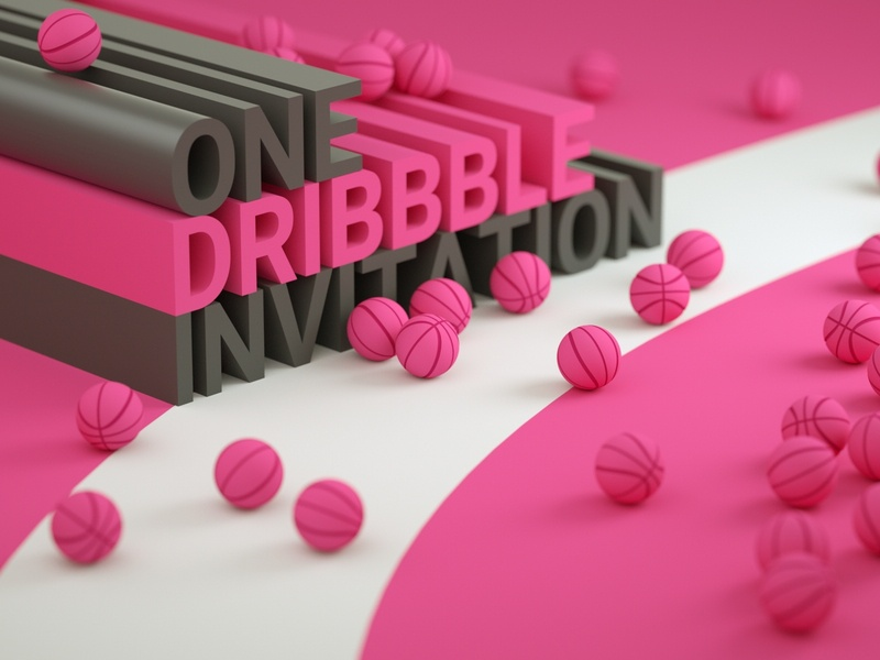 One dribbble invitation illustration design render cinema 4d c4d 3d artist 3d art 3d dribbble invitation dribbble invite invitation invite dribbble