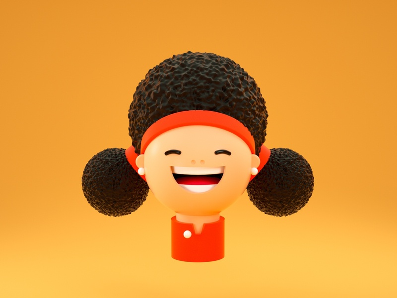 Afro Girl characterdesign vector illustration design render cinema 4d c4d 3d artist 3d art 3d