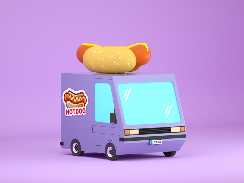 Hotdog Truck hotdog car illustration low poly art low poly design render cinema 4d c4d 3d artist 3d art 3d