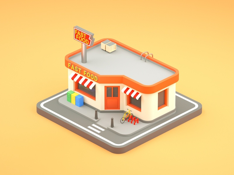 Fast food bicycle fastfood illustration low poly art low poly design render cinema 4d c4d 3d artist 3d art 3d