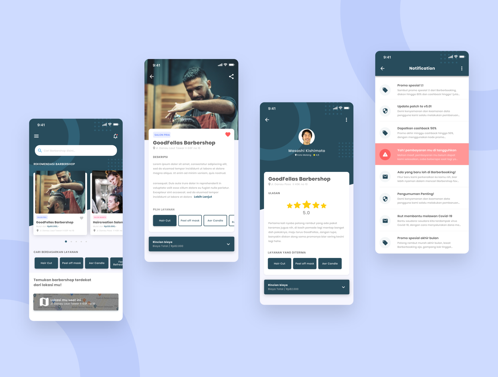 App Di Design barbershop booking app ui design by galih putra on dribbble
