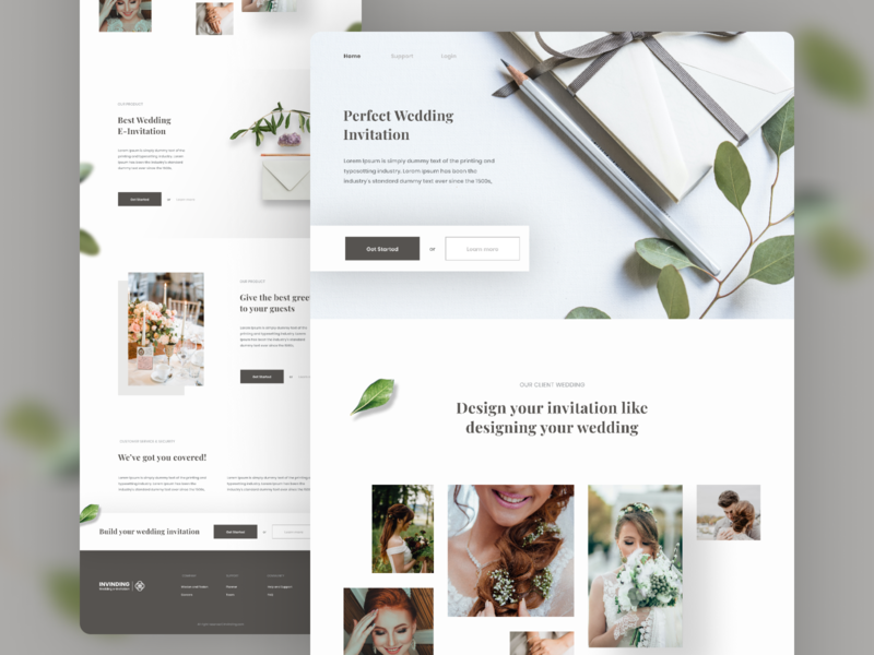 Exploration for E-Wedding Invitation Company app landing page web design branding user experience clean ux ui exploration design