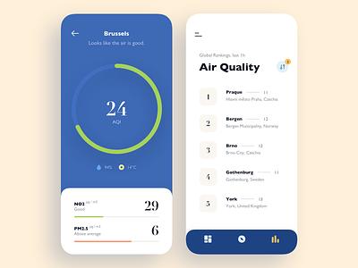Air Quality App circle graph flat air weather visualization data graph chart ios app
