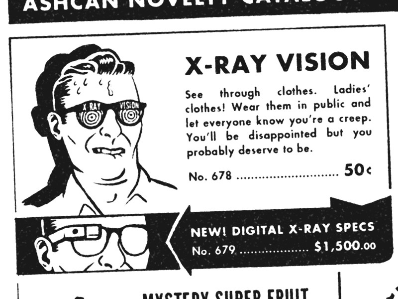 X-Ray Vision comics vintage parody google glass progress