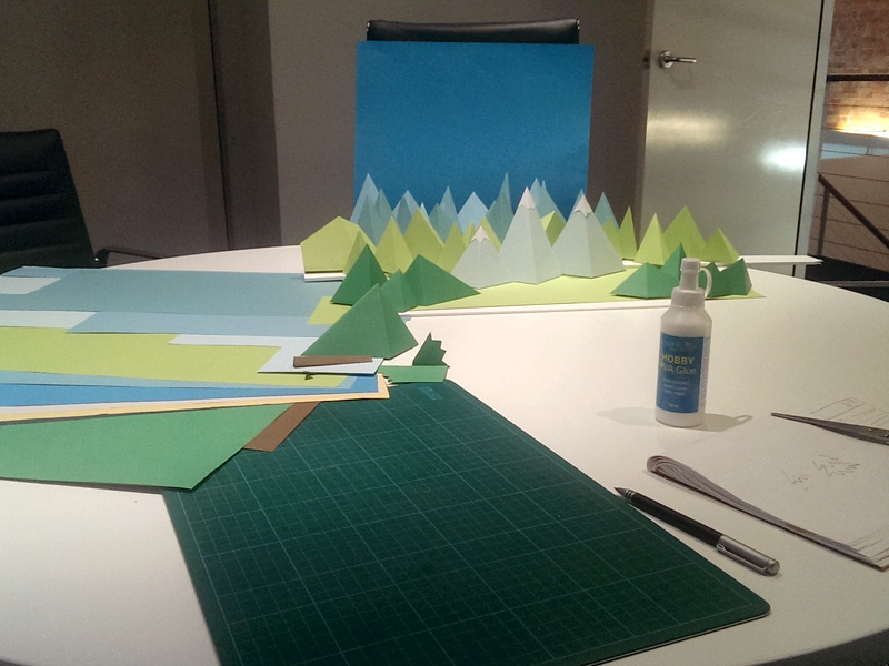 Building the set papercraft stop motion low poly animation cardboard craft
