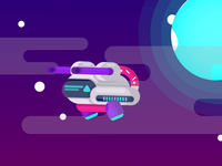 🎶Cute spaceship with artificial intelligence animation🤖