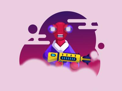 Future Alien 👽 with gun 🔫