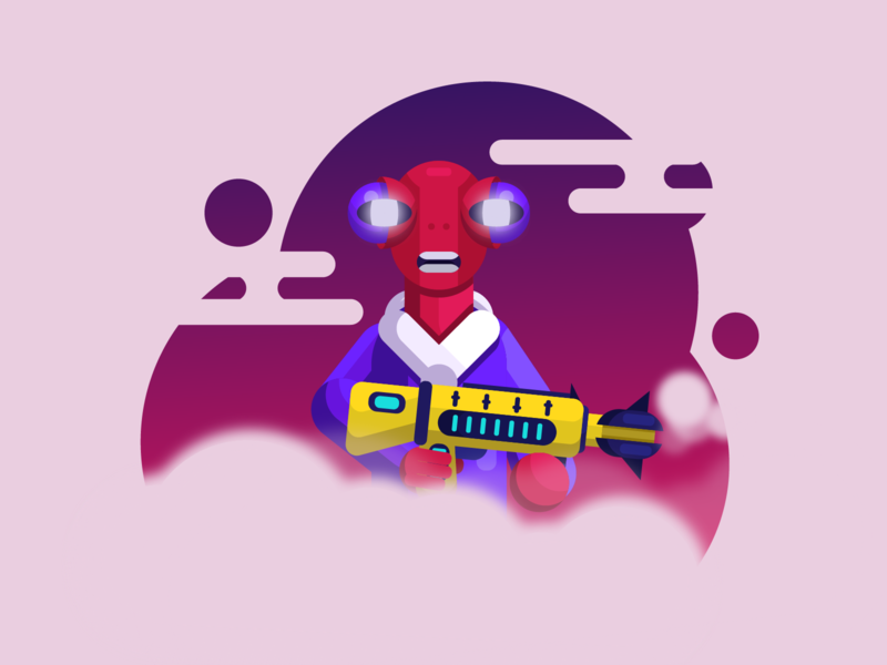 Future Alien 👽 with gun 🔫 cyberpank cloud stars dude alien gun robotic ai robot clothes planet galaxy flat vector future cute space design characer illustration