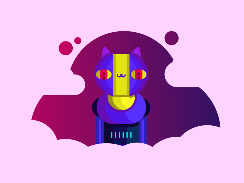 An alien 👽 robotic 🤖 cat 🐱 cat cyberpank cloud stars astronaut alien robotic clothes ai robot planet galaxy flat vector future cute space design characer illustration