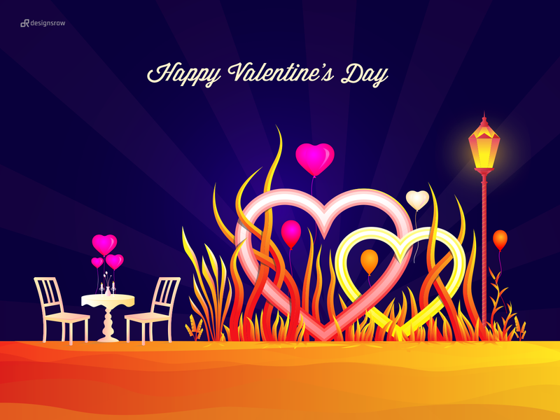 Happy Valentine's Day color illustration gradient hero image ui valentine day table chair lamppost hearts love happy valentine leaf illustration