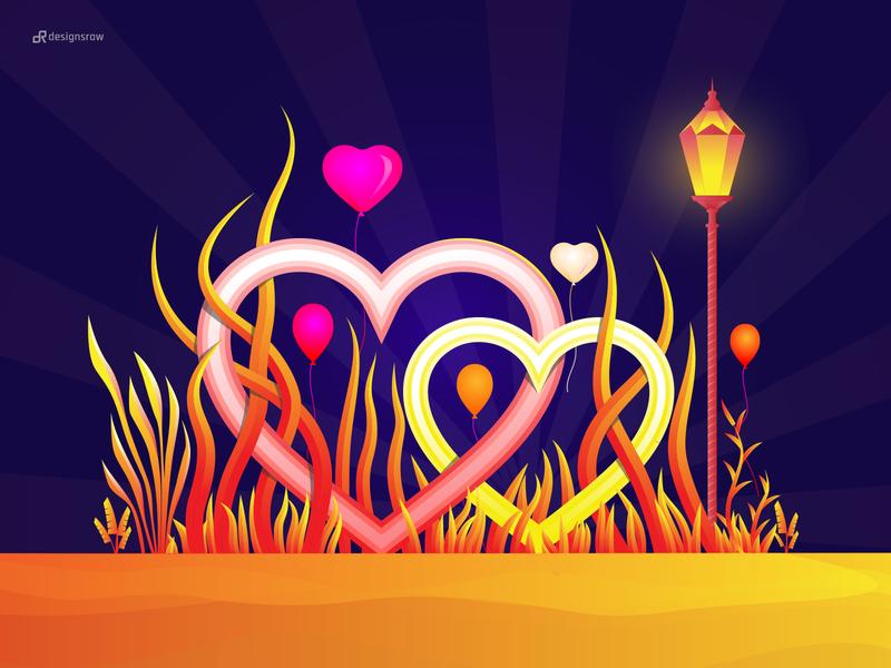 Happy Valentine Day hearts lovely lampost love leaf wallpaper natural landing page illustration design gradient hero image color illustration illustration