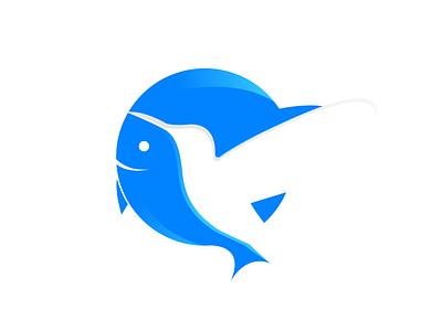 Bird and Fish Logo Design icon blue identity brand identity hunting humming bird fish bird vector design branding logo