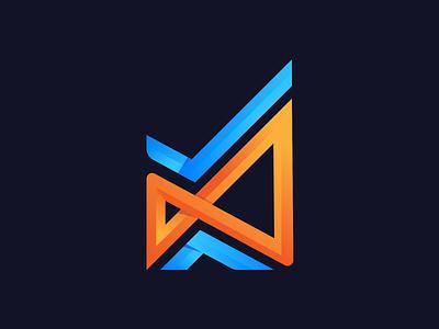 Infinity Abstract Logo Design blue orange right infinity logo design abstract brand identity icon vector design branding logo