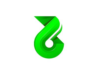 B Letter Logo vector illustration brand design green number 6 number 6 letter b letter logo letter brand identity branding logo design logo