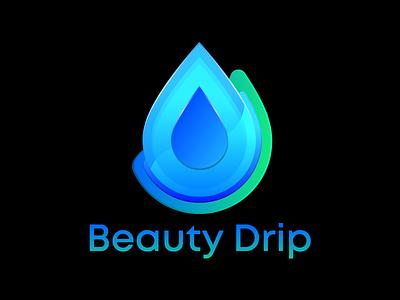 Beauty Drip Brand Logo Design blue water brand design beauty liquid drop drip gradient color illustration icon design illustration logo brand identity branding
