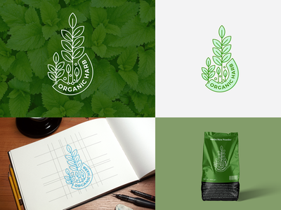 Organic Harb Logo Branding forest illustration green logo design harbal brand identity leaf organic logo branding