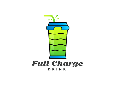 Full Charge Logo Branding food and drink food battery cafe juice drink charge logo design logo branding