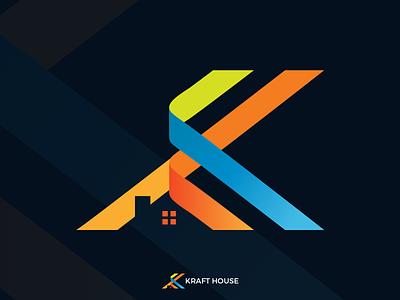 Kraft House Logo Design k letter logo lettermark k letter lettering illustration mortgage construction kraft real estate house logo design logo branding