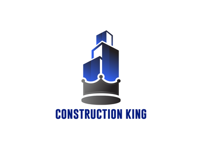 Construction King modern minimal design brand design blue building crown king constraction branding logo