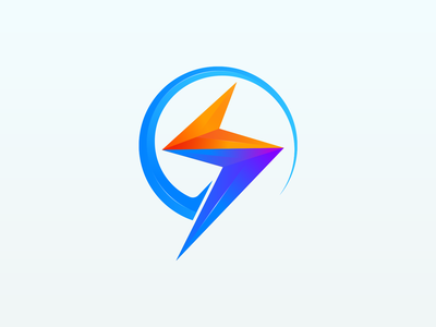 Electronic Logo gradient graphic design blue speed mark icon illustration design branding logo first electric energy charge power voltage flahs