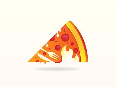 Hot Pizza Logo Design knife fork flame fire icon mascot burger graphic design gradient illustration design logo branding pizzeria fastfood restaurant food pizza logo pizza hot