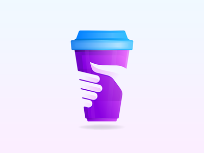 Take a Coffee Brand logo designer blue purple finger restaurants modern icon coffee plastic cup coffee shop coffee cup cafe keep take hand cup coffee illustration gradient logo branding