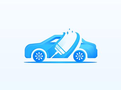 Car Wash Service Brand cleaning brush water servicing transport illustration design logo branding automotive automobile clean cleaning service wash car