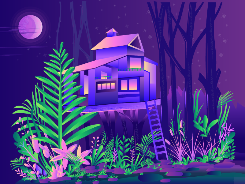 Relaxing Treehouse at night gradient nature forest wallpaper relaxing tree color illustration leaf jungle vector illustration treehouse
