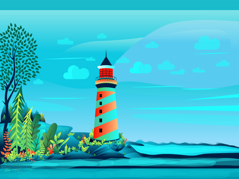 Lighthouse on the river side illustration sky tree jungle wallpaper design logo lighthouse vector forest gradient leaf color illustration