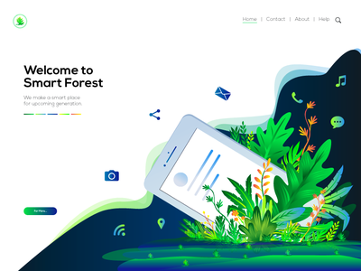 Illustration for Smart Forest Page vibrant color illustration ui illustration landing page illustration design logo wallpaper vector leaf jungle gradient forest color illustration