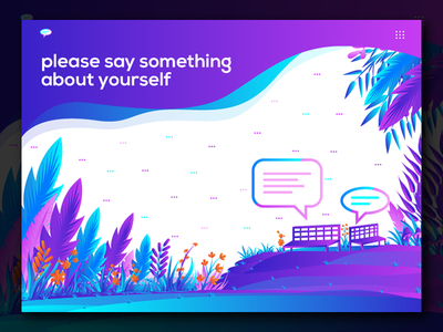 Please say something about yourself relaxing jungle ui design landing page illustration vector leaf illustration gradient forest