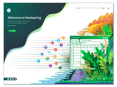 E-commerce Data Feeds Illustration tree vector landing page mountain river social media data analysis leaf landing page illustration illustration color illustration forest